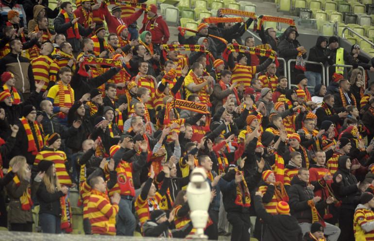 Kibice Jagiellonii na stadionie