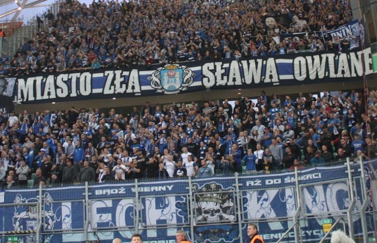 Kibice na meczu z Legią Warszawa